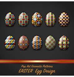 Easter day egg with pop art geometric pattern vector