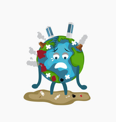 Erath globe sad sick tired of polution global vector
