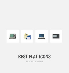 Flat icon computer set of technology vintage vector