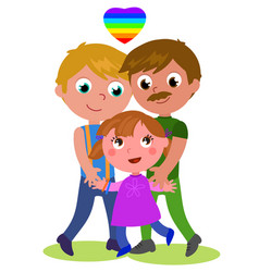 gay couple with child vector image