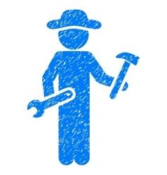 Gentleman serviceman grainy texture icon vector