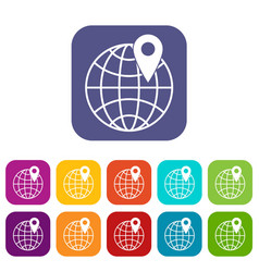 Globe with pin icons set vector