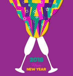 happy new year 2018 retro color party toast splash vector image