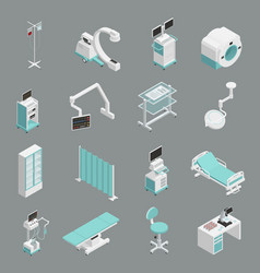 Hospital equipment isometric icons set vector