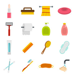 Hygiene tools icons set in flat style vector