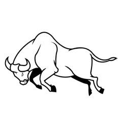 Jumping Bull Line Art vector image vector image