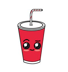 Kawaii cute delicious soda beverage vector