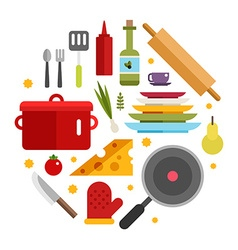 Kitchen Appliances and Objects in the Shape of vector image vector image