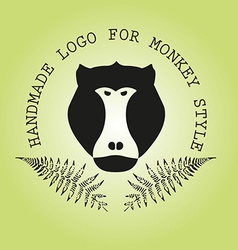 Logotype with head of monkey and leaves of fern vector