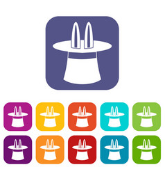 Rabbit ears appearing from a top magic hat icons vector