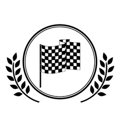 racing flag award in monochrome with olive branch vector image vector image