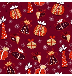 Red retro seamless gift pattern vector image vector image