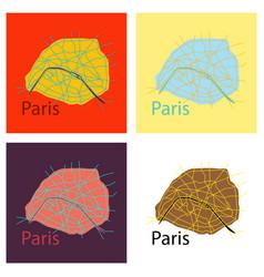 Set of flat urban city map of paris france vector