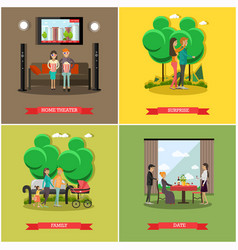 Set of happy loving couples posters in flat vector