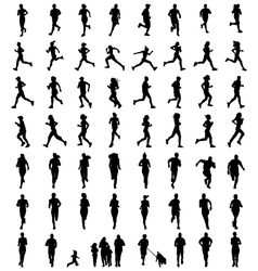 Silhouettes of runners vector