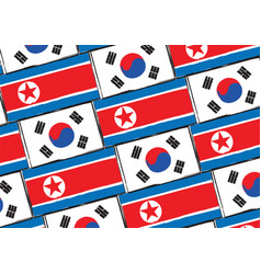 South and north korea flags or banner vector