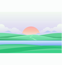 Sunset or dawn by the river - modern vector
