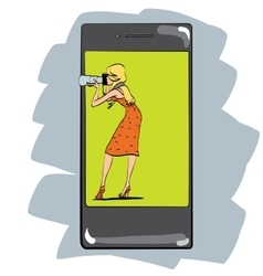 The girl takes photos with her phone vector image vector image