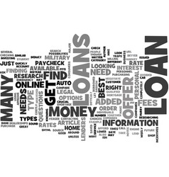 what type of loan do you need text word cloud vector image vector image