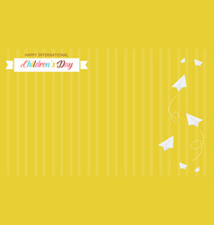Yellow background style card for childrens day vector