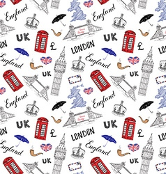 London city doodles elements seamless pattern with vector