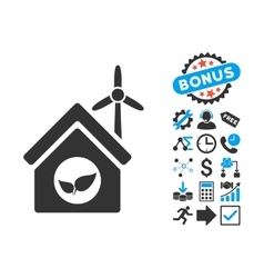 Eco house building flat icon with bonus vector