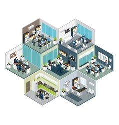 Isometric office different floors composition vector