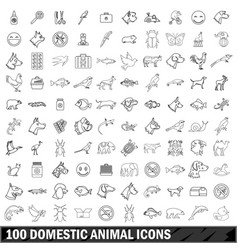100 domestic animal icons set outline style vector image