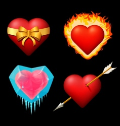 set of different volume hearts vector image