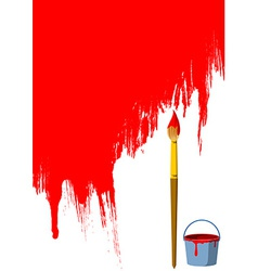 Brush bucket and painted wall vector image
