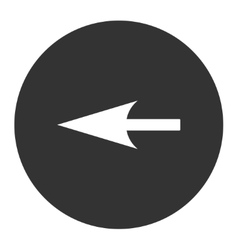 Sharp left arrow flat white and gray colors round vector