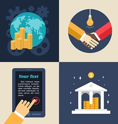 Set of flat design business global economics bank vector