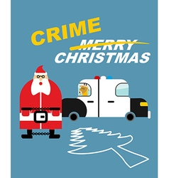 Crime christmas santa claus in handcuffs deer sits vector