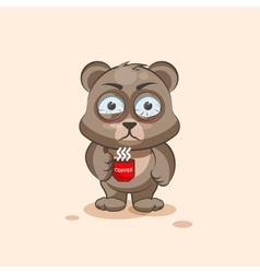 isolated Emoji character cartoon Bear nervous with vector image