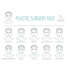 11 line plastic surgery face icons flat design vector