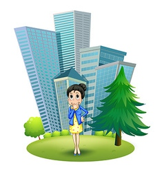 A woman in front of the building vector