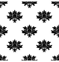 Black foliate motif in a seamless pattern vector