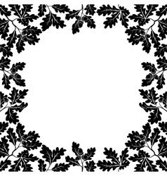 Border of oak branches black contours vector image