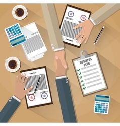 businessman shake hands after the signed contract vector image