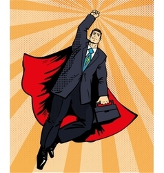 Businessman super hero flying with briefcase vector image vector image