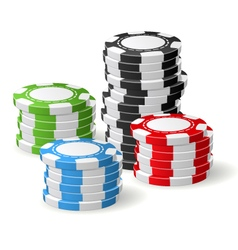 Casino chips stacks - gambling chips vector image vector image