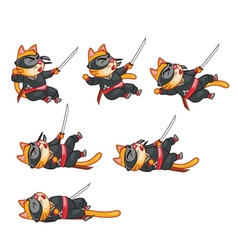 Cat ninja dying sprite vector