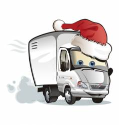 Christmas delivery truck vector image