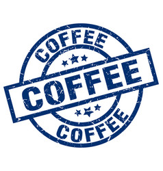 coffee blue round grunge stamp vector image vector image
