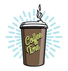 Color vintage coffee emblem vector image