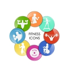 Colored fitness club icons vector