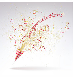 Congratulatory background of party popper with vector
