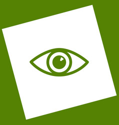 Eye sign white icon obtained vector