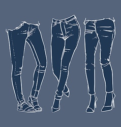 Fashionable skinny denim jeans clip art vector