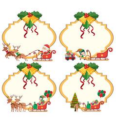 four card templateswith santa on sledges vector image